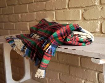 Flannel Tartan Throw Blanket - Plaid Flannel Blanket - Christmas Blanket - Fall Blanket - Gift under 50 - Red Green and Blue Blanket