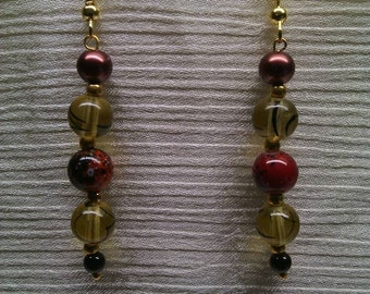 Chocolate brown and yellow earrings