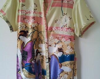 Kimono-themed satin robe