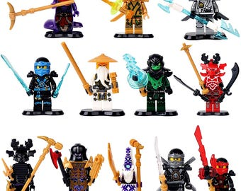 12 Ninjago characters Evil Lord Garmadon G.Ninja Sensai WU Morro u.a Cole Kai Jay Zane Pythor Chop Rai