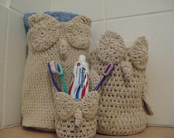 Crochet owl bathroom set