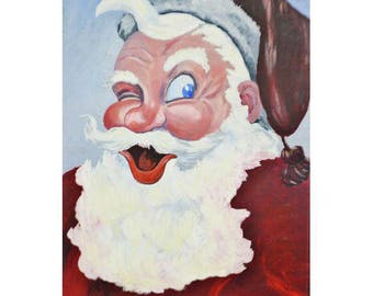 "Large Vintage 1953 Signed Santa Claus Painting on Board 36"" x 24"""