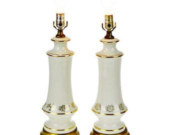 Pair of Hollywood Regency Porcelain Table Lamps with Brass Base