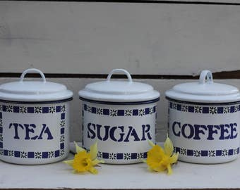 Vintage Enamel Tea Coffee and Sugar Pot Set