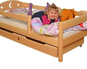 Youth bed cot Nati 140 x 70 natural solid incl. mattress and 2 drawers