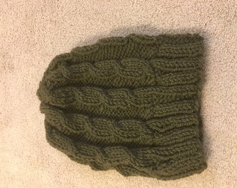 Khaki green cable knit hat
