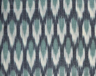 Grey, White and Sea Green Ikat Fabric , Ikat Upholstery Fabric, Indian Ikat Fabric, Ikat for cushion covers, Handloom Ikat Cotton Fabric