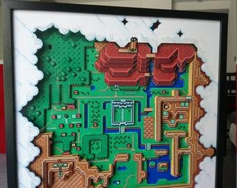 Diorama map of Hyrule from Legend of Zelda snes