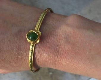 Vintage Gold plated bangle with jade charm
