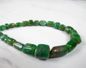 Natural Emerald smooth large nuggets/5x8-16x8mm/8 inch strand