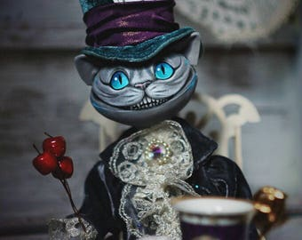 Cheshire Cat Alice in  Wonderland ART Doll Tim Burton Lewis Carrol  Interior doll