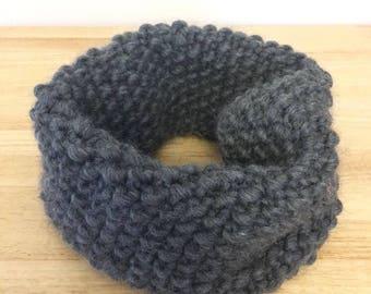 Luxury, Hand Knitted, Chunky, Moss Stitch, 100% Wool Neckwarmer in Dark Grey