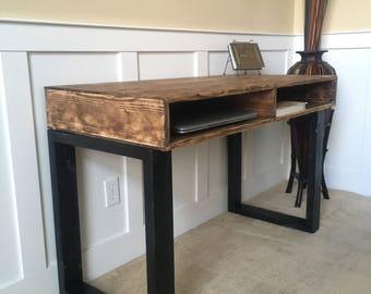 Mid Century Modern Solid Wood Office Desk In Rustic Walnut Finish