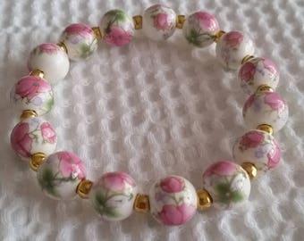 Pink Floral Porcelain Bracelet