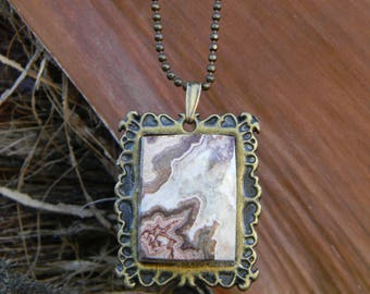 Crazy Lace Agate Pendant Necklace with Bronze Setting and 18 inch chain