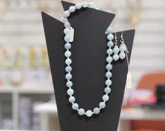 Aquamarine necklace bracelet and eaing set