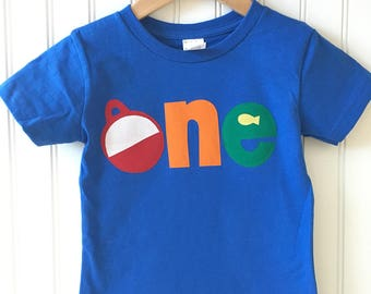 O-fish-ally ONE birthday tee. The BIG one first birthday shirt. Bobber, fishing, boating, vacation, trip, birthday shirt. Any age.