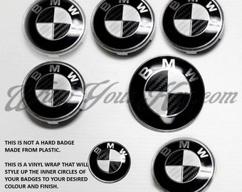 Black and white fiber BMW badge emblem overlay trunk rims fits all BMW