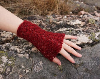Wine Red Knitted Wrist Warmers