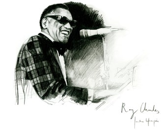 Ray Charles on piano