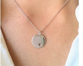 Tiny heart necklace - small heart necklace - heart cutout necklace - charm necklace - dainty heart necklace - disc coin necklace - gift idea