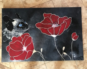 Painting on canvas flower and cat