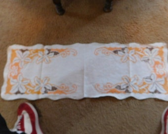 "13"" x 36"" cross stitch embroidered line dresser scarf in orange and brown colors"