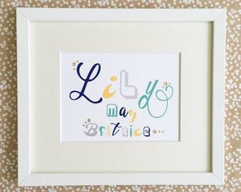 Bespoke Typography  NamePrint/ Personalised Print/ Typography Wall Art/ Bespoke Gifts/ Custom Typography Name Art/ Children's Gifts