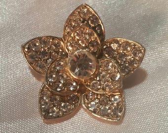 Vintage Estate Sparkling Rhinestone Flower Brooch