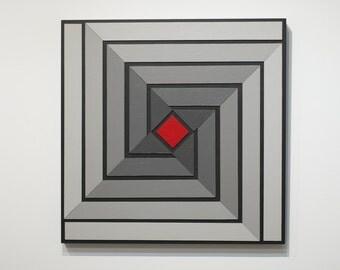 Shades of Grey 14 - original mixed media painting of acrylic on wood