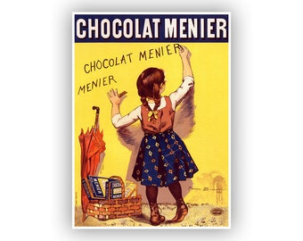 Chocolat Menier, French Chocolate Candy Advertising Poster, Vintage Style Print, Retro Art for the Kitchen Or Bathroom