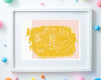 Nature Trees Bones: Hand Drawn & Illustrated  // Pastel Pink, Mustard and Acrylic Giclèe Print A3