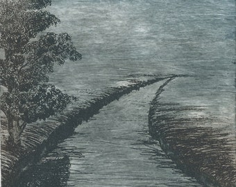 LIMITED EDITION UNFRAMED etching; Path (Blue)