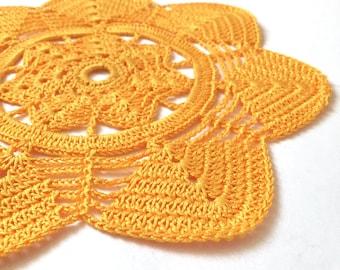 orange crochet doily, home decor, 20cm 8inch diameter  cotton doilies, orange table decor,  cup coaster, gift idea, table placemat, handmade
