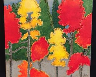 Fall tree painting, fall painting, tree painting, fall artwork, fall art, tree art, tree artwork, red tree painting, small painting,