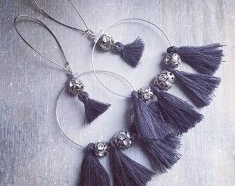 REF 0024 - Bohemian earrings tassel dark grey and rhinestone beads