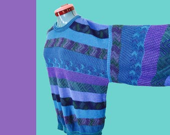 Vintage Vaporwave Sweater Colours by Alexander Julian Big & Tall Extra Large Made In USA Extra Long Sleeves Blue Purple Geometric 1990s