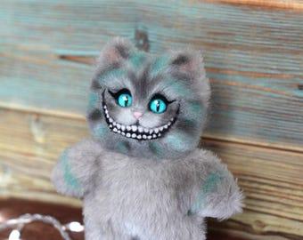 Plush toy Cheshire, Needle felt Cheshire cat, Felted toy, toy gift, Plush-wool toy Cheshire cat