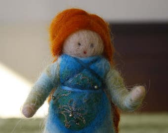 Miniature doll, felted Merino Wool Interior Waldorf folklore by hand with needle, gift for girls, selling collectors