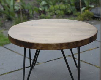 Rustic Round Coffee Table, Using Reclaimed Timber on Steel Hairpin Legs