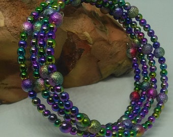 Rainbow beaded memory wire bracelet