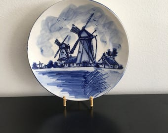 Vintage delft blue Hand Painted Ceramic Plate, Holland. Collectible, Windmill, 1970'S Dutch Porcelain, Home Decor, Blue And White pottery