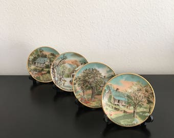 Vintage, Currier And Ives, Four Seasons Plate Set, Mini Plates, Collectible,Mini Display Stands,Made In USA, Doll House,Porcelain Plate Set