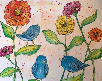 Zinnias and Birds