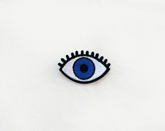 1x blue EYE Patch open eyes lashes custom your jacket, clothes, hat, bag with an Iron On Embroidered Applique