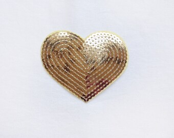 1x sequins gold glitter purple shiny heart patch love burlesque Iron On Embroidered Applique