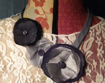Plush Textile Necklace Black Grey Silver Collar style Bib Necklace Flowers and Vintage Buttons
