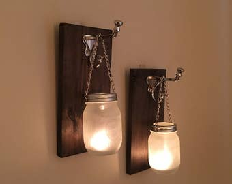 Frosted Mason Jar Wall Sconces / Candle Sconces