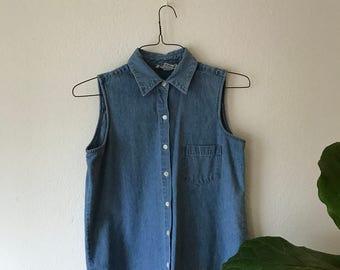 Sleeveless Chambray Button Up Shirt