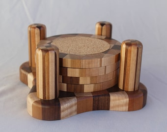 Wood Coaster Set (4 coasters) with 4-Post Wooden Base